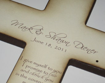Personalized Christian Wedding Cross - Gift for Bride and Groom- Art Includes Names / Date / Vows