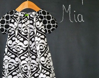 Peasant Mini Dress - Michael Miller - Damask - Pick the size Newborn up to 12 Years - by Boutique Mia
