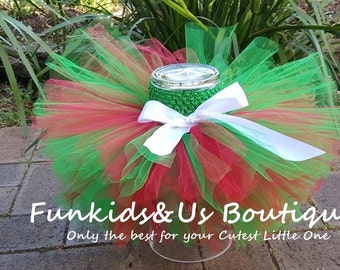 BABY CHRISTMAS TUTU Skirt - Red Green Tutu Skirt-  Newborn christmas tutu