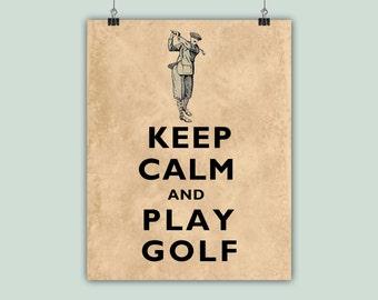 Golf Art, Gofer Print, Golfing Poster, Keep Calm Art, Keep Calm Print, Play Golf, Golfing decor, Gift for golfers, Golf Players