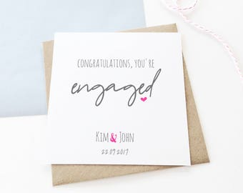Personalised Engagement Card, Personalised Card, Celebration Card, Congratulations Card, Engagement Card, Love Card