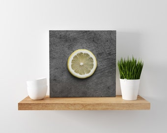lemon // food photography print // canvas print // kitchen wall art // dining room wall art // rustic wall art // citrus fruit