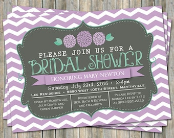 Chevron Bridal Shower invitation with flowers, purple, mint green and gray,  printable, digital file