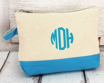 Monogram Make Up Bag - Monogrammed Makeup Canvas Bag - Monogrammed Make Up Bag - Personalized Travel Bag -Monogram Bridesmaids Gift, AQUA