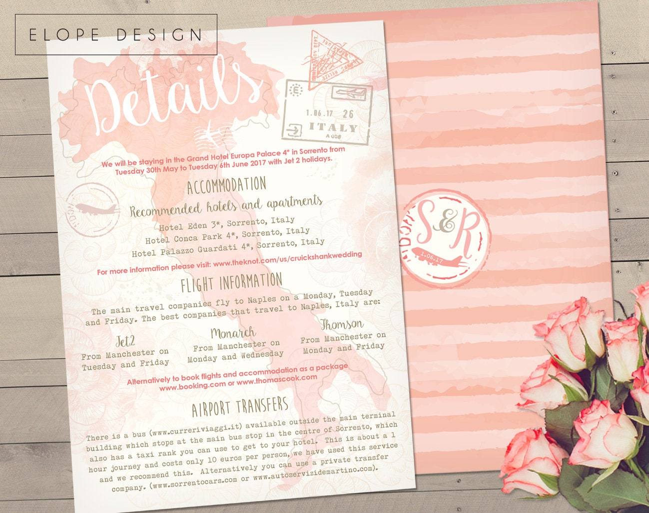 Italian Themed Personalised Wedding Invitations - Information Card ...
