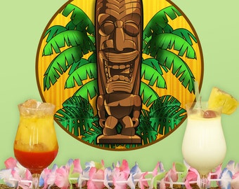 Happy Hawaiian God Tiki Bar Wall Decal - #59045