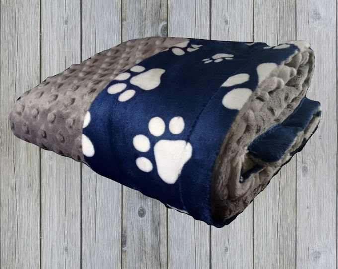 Navy Blue and White Paw Print Minky Blanket, Navy Blue Dog or Pet Blanket, available in three sizes