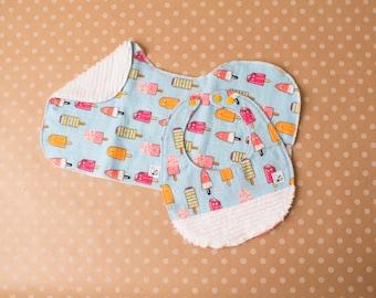 Summer Popsicles Baby girl Pink Blue Orange Bib Burp cloth Baby gift set Newborn Little Tommys Flannel Chenille Soft Absorbent