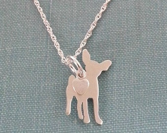 Chihuahua Dog Necklace, Sterling Silver Personalize Pendant, Breed Silhouette Charm Rescue Shelter, Mothers Day Gift
