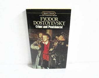 Vintage Paperback Book, Crime and Punishment by Fyodor Dostoyevsky, Signet Classic, New American Library, Russian Author, Classic Literature
