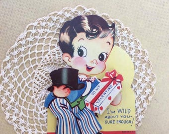 Vintage 1930s 1940s Valentine Little Boy In A Suit & Top Hat Paper Ephemera Collectible