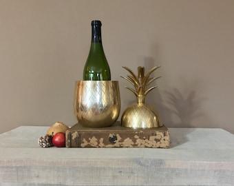 "Large 12"" Brass Pineapple / Brass Pineapple Ice Bucket / Brass Ice Bucket / Brass Pineapple Container / Vintage Brass Pineapple /Vintage Bar"