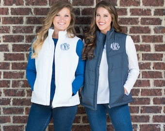 Monogrammed Puffy Vest, Personalized Vest, Warm Puff Vest, Personalized Women's Vest, Fall Vest, Winter Vest, Preppy Women's Puff Vest,