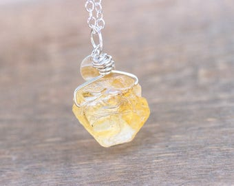 Raw Citrine Necklace - Rough Citrine Necklace -  Raw Citrine Pendant - Citrine Pendant - Raw Crystal Necklace - Rough Crystal Necklace