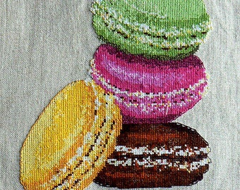 Macarons in column embroidery chart