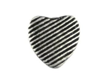 Heart Metal Buttons - Linear Heart Antique Silver Metal Shank Buttons - 13mm - 1/2 inch - 3 pcs