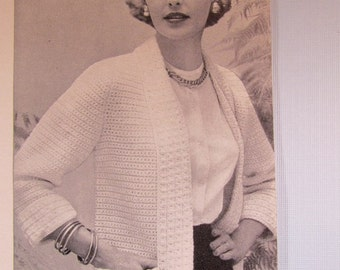 Crochet Sweater Pattern - 1950's Vintage Pattern, Women's Crochet Sweater KIY4 PDF Pattern