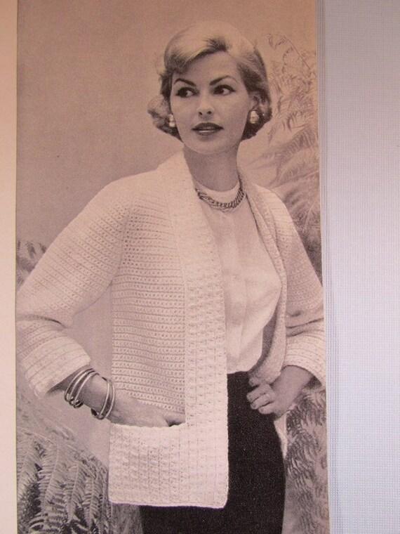 Crochet Sweater Pattern 1950\'s Vintage Pattern