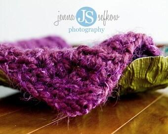 Purple Puff Newborn Baby Blanket Photo Prop
