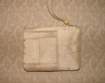 Mini Cream buff Dupioni Silk patchwork padded zippered Pouch handmade by me, Miss Patch