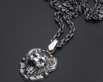 Sterling Silver Lion head Pendant-Sterling Silver Lion Necklace