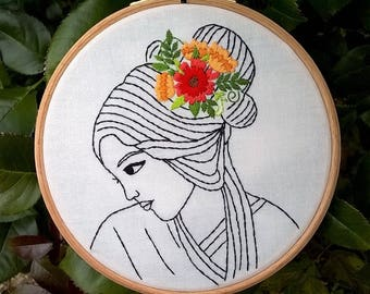 "Embroidery KIT - Embroidery pattern - embroidery hoop art - ""Serenity"" - Traditional embroidery kit - Face design - Modern embroidery"