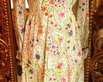 Vintage 1960's Prairie Floral Maxi Dress