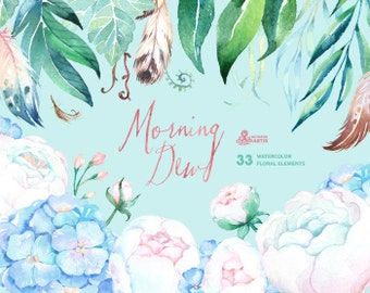 Morning Dew. 33 Watercolor floral Elements, wedding, invitation, floral, feathers, boho, diy, flowers, spring, peonies, mint, blue, white