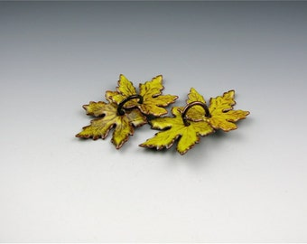 Enameled Small Maple Leaves / Yellow Enamel  / Made to Order