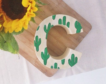 cactus letters // hand painted letter or number
