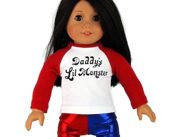 """Harley Quinn Inspired Tee Shirt & Shorts - Separates or Set -  Doll Clothes fits 18"""" American Girl Dolls"""