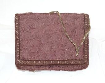 Walberg Brown Brocade Purse Chain Vintage