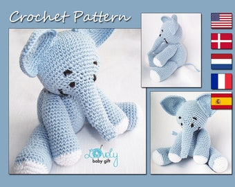Amigurumi Crochet Pattern - Stuffed Elephant Pattern - Crochet Animal Pattern - Baby Toy, CP-104