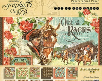 "Graphic 45 ""Off to the Races"" 12 x 12 Paper pad Cardstock Collection"