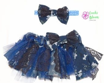 Military Baby Shabby Chic Camo Navy Tulle Lace Tutu and Matching Hair Bow