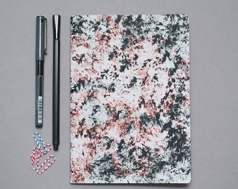 2018 Undated Weekly Planner, minimalist recycled planner, eco-friendly A5 agenda, black and red abstract diary, soft cover