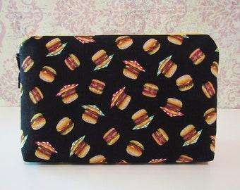 Hamburger Cotton Zipper Pouch // Travel & Organizer Pouch // Gilmore Girls Inspired