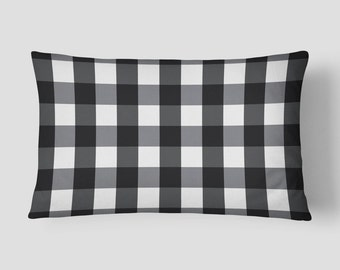 Black Lumbar Pillow, Plaid Pillow, Box Check Long Cushion, 14x20 Cushion Cover, White Black Cushion, Cover and Insert, Decorative Pillow