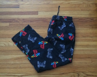 Vintage Playstation Video Game Console Logo and Controller All Over Print Pajama Pants (90's)