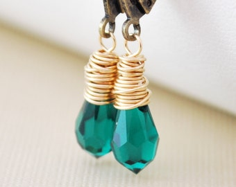 Emerald Green Earrings, Genuine Swarovski Crystal, Wire Wrapped Gold, Antiqued Brass Leverback Earwires, Mixed Metal Jewelry