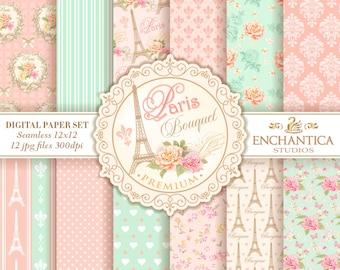 Paris Digital Papers, Digital Paper Paris, Paris Digital Background, Vintage Paris Paper, Floral Pattern, Eiffel Tower, Mint Pink Blush