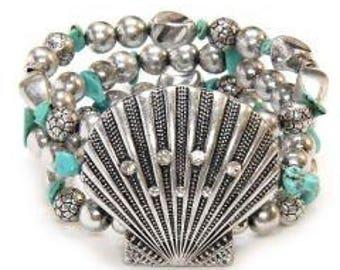 Sale| Turquoise Bracelet with Seashell Focal, Triple Strand Stretch Bracelet, Chunky, Sea Theme, Beach, Ocean Theme, Boho, Wide Bracelet, Su