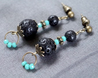 Blue Pearl and black lava stone earrings