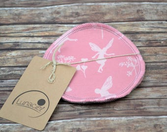 Nursing pads made of organic cotton, 1 pair, 2 pieces, 2-ply, pink, re-usable washable, environmentally friendly, breastfeeding, original equipment, baby