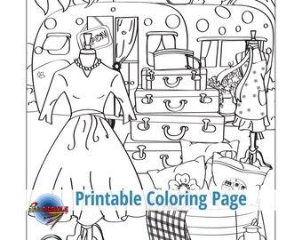 Pop Up Boutique Adult Coloring Page Retro Vintage Dress Shoes