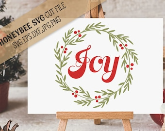 Joy Wreath svg Joy svg Christmas svg Christmas wreath svg Christmas decor svg Holiday decor svg Silhouette svg Cricut svg eps dxf