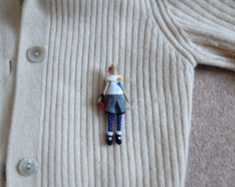 miniature Tilda doll brooch