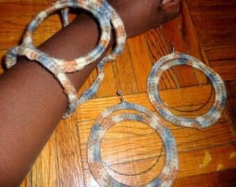 Well Grounded, Crochet Earrings and Bracelet Set