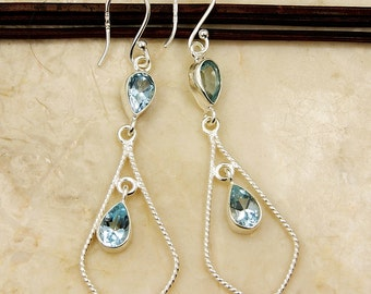 Long Blue Topaz Earrings Sterling Silver Dangle Earrings U410 Jewelry Earth Treasure