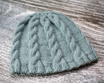 Hand Knit Baby Cable Beanie Hat - Duck Egg - 0-3m - Ready to Ship, UK Seller